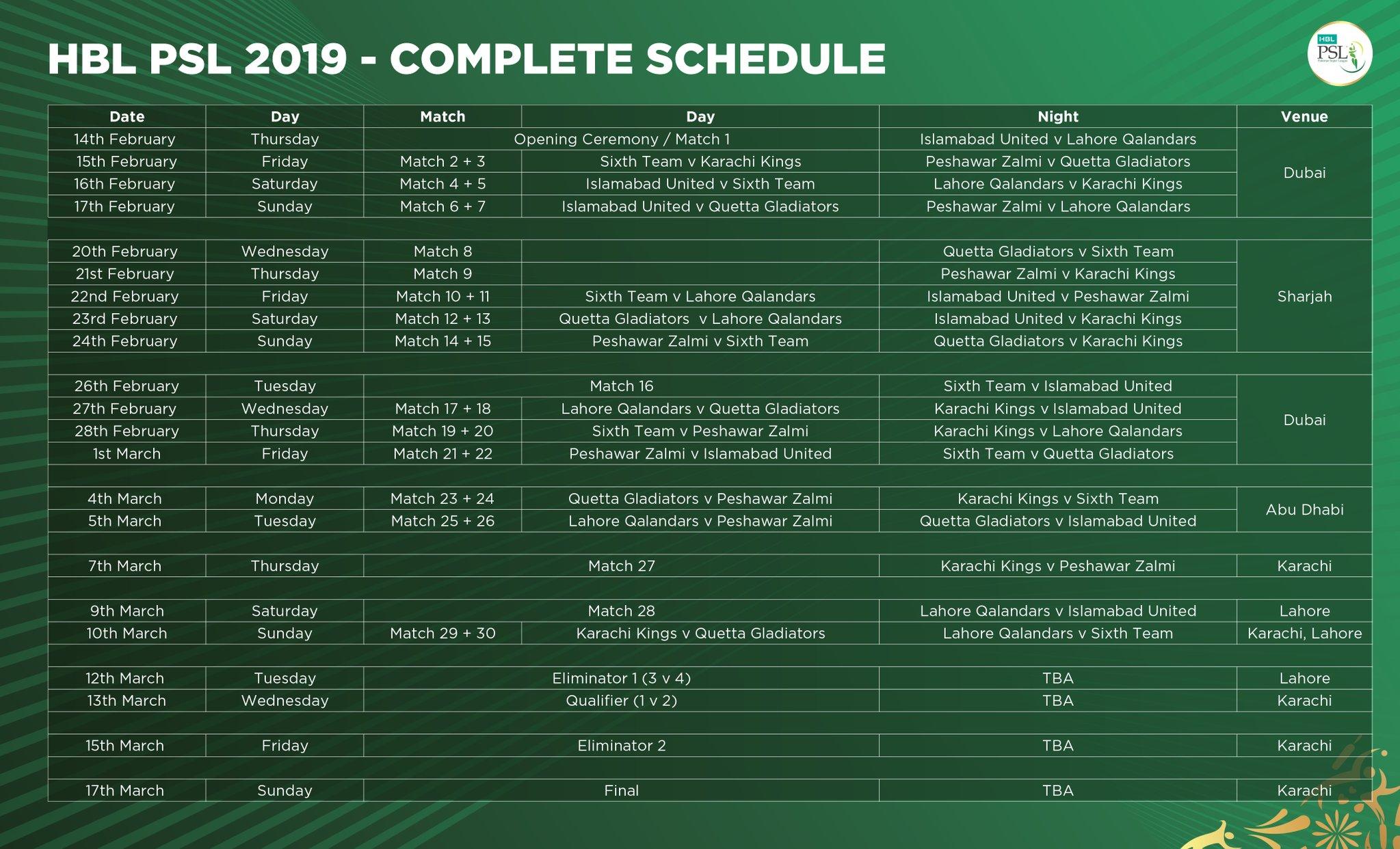HBL PSL 2019 Schedule